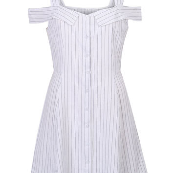 White V-neck Stripe Print Cold Shoulder Cami A-line Dress