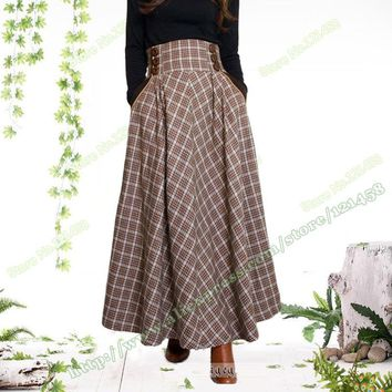 Autumn Winter Plus Size XXXL Warm Fashion Casual Vintage Retro High Waist Plaid Wool Woolen Pleated Long Maxi Skirts Womens