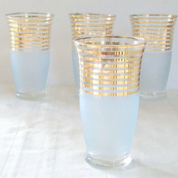 Gold and Blue Frosted Footed Glasses Set of 4 Atomic Era Inspired Mid Century Hollywood Regency 1950s Elegance Stemware Elegant Tea Party