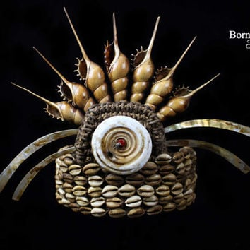 Vintage Papua Headdress,Tribal New Guinea Ceremonial Crown, Shell Tiara, Headpiece Oceanic Art/Conch Shell,Tusk,Cowrie, Seed Ethnographic