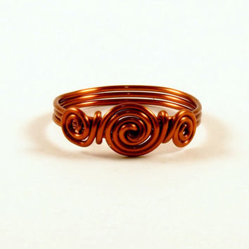 Copper Wire Wrap Spiral Ring Size 8 Wire Wrapped Ring