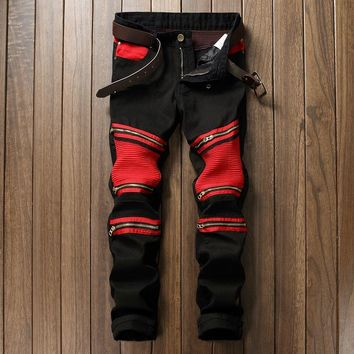 Patchwork Men's Biker Jeans Pleated Denim Male Motocycle Jeans