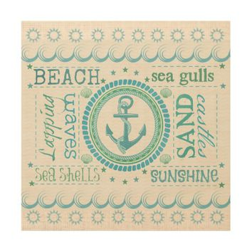 Nautical Anchor Typography Beach House Wall Art Wood Wall Art