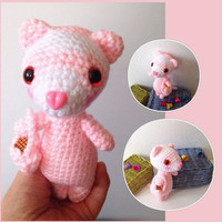 Valentine's Day Gift Idea Amigurumi Ferret Crochet Ferret Valentine Pink Heart Stuffed Animal Toy Ferret Kids Toy Kawaii Ferret Plush