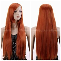 Long Wavy Curly/Straight Heat Resistant Women Blonde/Red/Brown/Pink Cosplay Wig