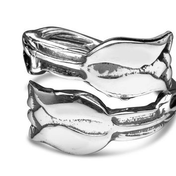 Silver Spoon Adjustable Ring - Tulips
