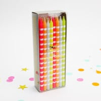 Neon Tall Striped Party Candles
