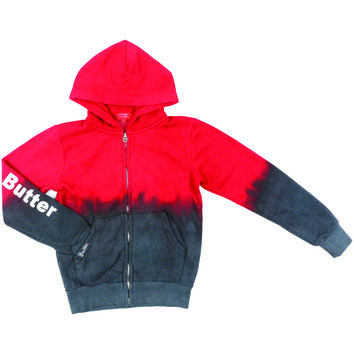 "Butter GIRLS ""EMOJI LIFE"" DIP DYE ZIP HOODIE - RED/CHARCOAL"