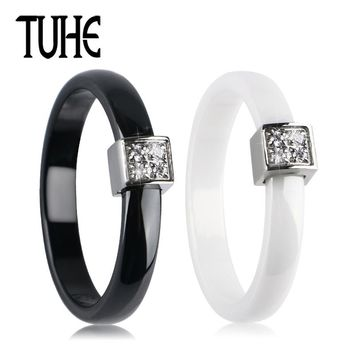 TUHE 3mm Wide Ceramic Ring Women Fashion Design Wedding Party Jewelry Black White Pink Color Square Stainless Steel Crystal Ring