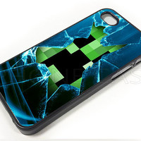 Minecraft Creeper Glass Broken PC 008 - Print on Hard Cover - For iPhone 4, iPhone 4S, and iPhone 5 Case - Black, White, and Clear