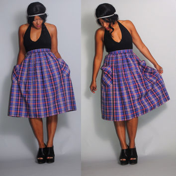 Vintage 1950s High Waisted BLUE  metal zipper cotton PLAID Circle skirt  POCKETS Xs