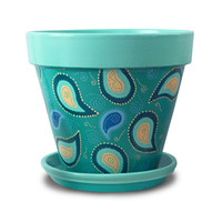 Paisley Flower Pot in Aqua, Blue, and Turquoise - 8-inch pot