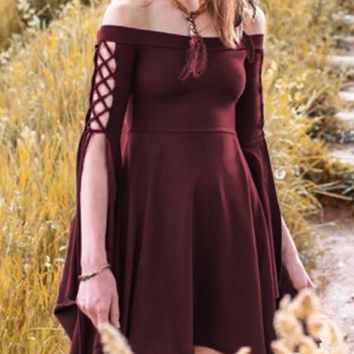 Burgundy Pleated Swallowtail Off Shoulder Lace-up High Waisted Retro Cute Country Midi Dress