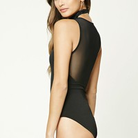 Mesh-Panel Back Bodysuit