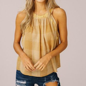 Ray of Sunshine Embroidered Tank Top (Mustard)