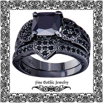 Gothic Wedding Rings | Black Wedding Ring | Romantic 2Ct Cushion Black CZ Heart Pave Ring and Wedding Band Ring Set | Size 6 7 8 9 10 #124