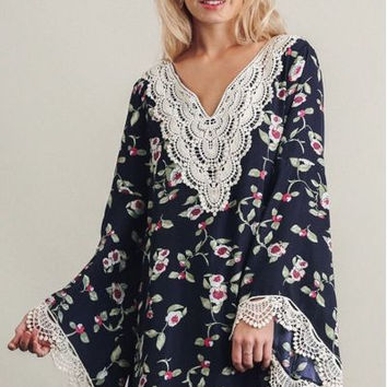 Umgee navy floral print V neck bell sleeve dress with lace details