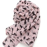 Smitten Kitten Cat Print Scarf in Pink | Sincerely Sweet Boutique