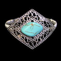 Turquoise Wire Wrapped Cuff Bracelet In Silver Tone, Boho Jewelry