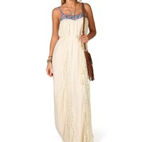 Sale-embroidered Lace Panel Maxi Dress