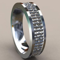 Bamboo Design 6mm Silver Mens Wedding Band, Sterling Silver Wedding Ring, Perfect for Nature Lover, Comfort Fit Mens Wedding Ring