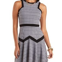 Fluted Houndstooth Skater Dress by Charlotte Russe