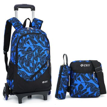 Removable Children School Bags with 2/6 Wheels for Girls Boys Trolley Backpack Kids Wheeled Bag Bookbag travel luggage