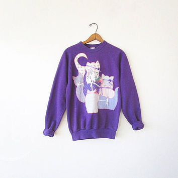 Vintage Quilted CATS Kittens PATCHWORK Purple Sweatshirt Pullover Sz M/L