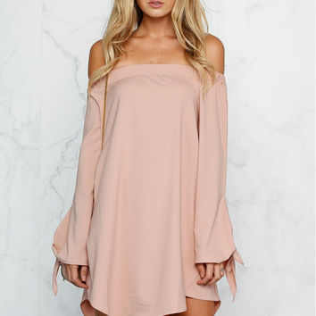 Beige Cold Shoulder Long Sleeve Shift Dress