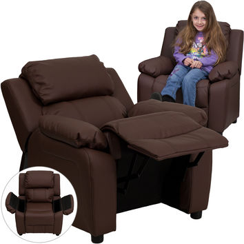 Contemporary Brown Leather Kids Recliner with Storage Arms