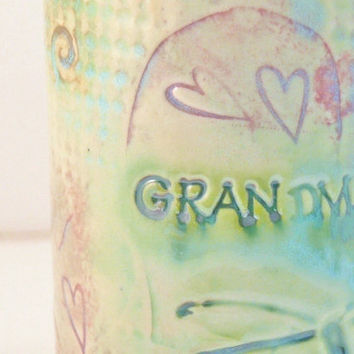 GRANDMA Cup -Coffee Mug with dragonflies and hearts ready to ship -  for grandmother birthday, new baby