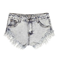 Louise High Cut Fray Hem Bleach Denim Hotpants