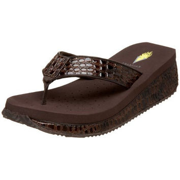 Volatile Women's Mini Croco Wedge Sandal, Brown, 7 B US