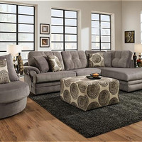 Corinthian Knockout Grey Chaise Sectional
