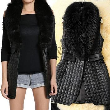 PEAPIX3 Fashion Lady Women Warm Faux Fur Long Vest Outerwear Coat Jacket waistcoat Tops  SV006480