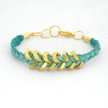 Teal Suede Leather Bracelet with Gold Hex Nut