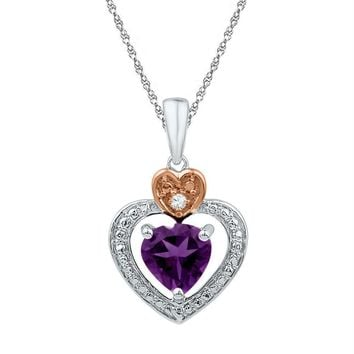 Sterling Silver 2-tone Lab-Created Amethyst & Round Diamond Heart Love Pendant 3-4 Cttw - FREE Shipping (US/CAN)