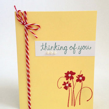 Yellow Flower Thinking of You Card - Hello Card - Friend Hello Card - Hello Greeting Card - Cute Hello Card - Red and White Card - Hi There