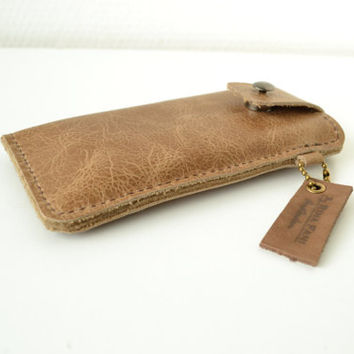 Personalized leather Iphone sleeve, handstitched, Iphone 5, 4
