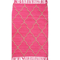 Trellis Dark Pink Handloom Cotton Rag Rectangle Rug