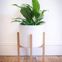 INN02 - Mid Century Modern Plant Stand / Planter in Solid Oak - Made with quality mortise & tenon joinery from 100% sustainably sourced wood