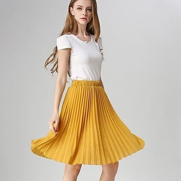 Women Chiffon Pleated Skirt Vintage High Waist Tutu Skirts Women Saia Midi Rokken Summer Style Skirt