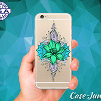 Lotus Flower Henna Mint Cute Tumblr Clear Transparent Rubber Case For iPhone 5, iPhone 5C, iPhone 6, iPhone 6+, iPhone 6s Plus, iPhone 6s+