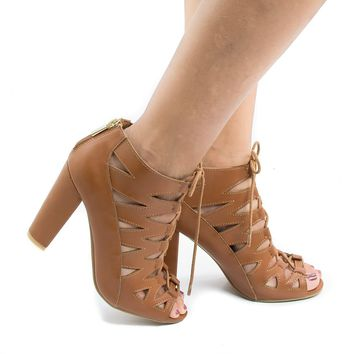 Rampage01V Chestnut Pu By Bamboo, Open Toe Ghillie Lace Up Chunky Heeled Sandals