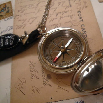 Working Compass Necklace Silver Graduation Gift