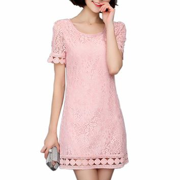 Brand Lace Dress Women Spring Sexy Crochet Dresses Casual Beach Bottoming Female Summer Openwork Dress Club Party Plus size