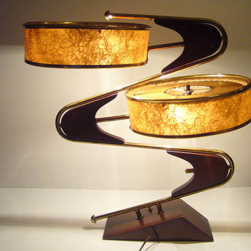 1950's Fabulously Wild Space Age Majestic Z / Zig Zag atomic lamp in brown and brass with original shades
