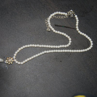 Vintage Imitation Pearl Teardrop Necklace