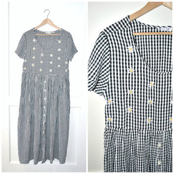 90s GRUNGE gingham dress / vintage early 1990s black + white check print PLAID kawaii DAISY duster maxi festival dress os