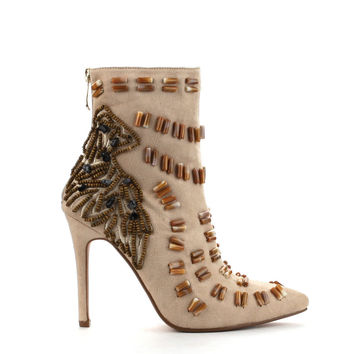 Beronica-12 Embroided Beige Booties